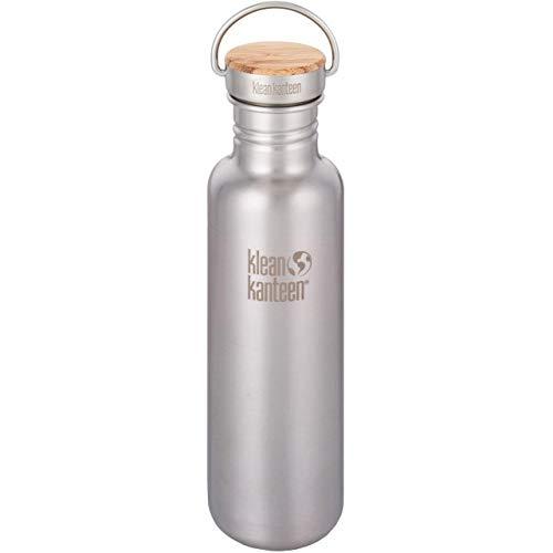Klean Kanteen Edelstahlflasche mit Unibody Bamboo Cap 800 ml Reflect, Brushed Stainless, 8020054
