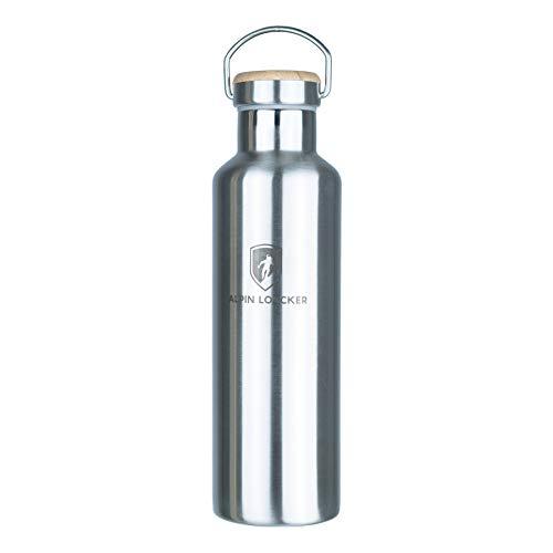 Alpin Loacker Trinkflasche aus Edelstahl Plastik mit Bambus Kappe - BPA freie Thermoskanne, Vakuumisolierte Edelstahlflasche für Outdoor, Sport, Wandern