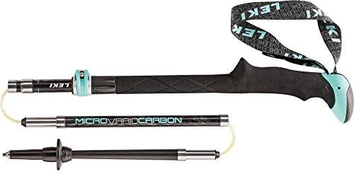 LEKI Damen Micro Vario Carbon Nordic Walking Stock, Black/Anthracite/White/Turquoise, One Size