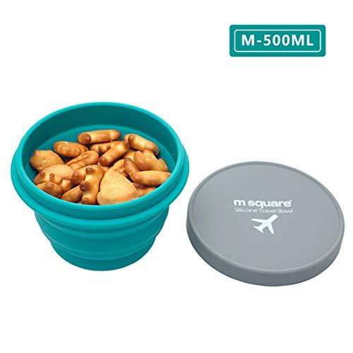 M Square Faltbare Lebensmittelqualität Silikon Schüssel mit Deckel, BPA-frei, Camping, Reisen, Haustiere, Wandern, Rucksackreisen, 500 g, Blau