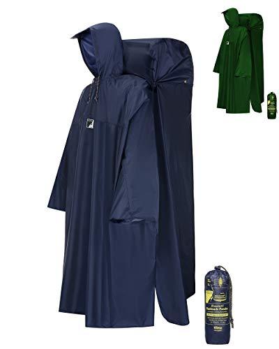 HOCK Regenponcho Wandern 'Kraxen AS' mit Regenschutz für großen Rucksack – Herren & Damen Regencape Atmungsaktiv mit Sturmhalteband für Wanderprofis – Extra Langer Wanderponcho mit verstellbarer Vorderlänge - Blau - L