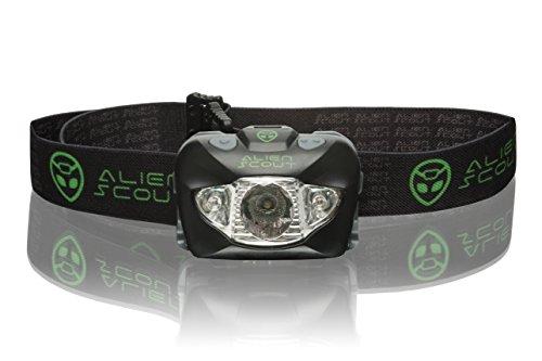 Stirnlampe von Alien Scout - High-End, Profi, Stoß- und Wetterfeste LED Kopflampe zum Laufen, Camping, Radfahren, Angeln, Gassi gehen, Lesen, Arbeiten, Handwerk oder Naturabenteuer - Einstellbar, leicht und ultrahell - Weiß/Rot/SOS-Leuchtmodi - inklusive langlebiger Batterien (Duracell oder Energizer) und Verstaubox MEHRWEG