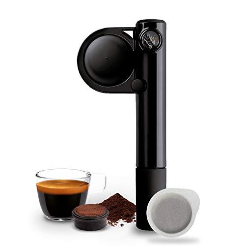 Handpresso 48238 Pump schwarz - tragbare, manuelle Espressomaschine für ESE-Pads oder gemahlenen Kaffee