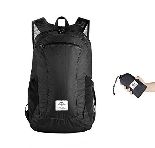 Naturehike Ultra Leichtes Packbar Wasserdicht Wandern Daypack, Kleiner Rucksack Dauerhaft Handliche Faltbare Perfekt für Klettern Camping Rucksack Radfahren(Schwarz 18L)