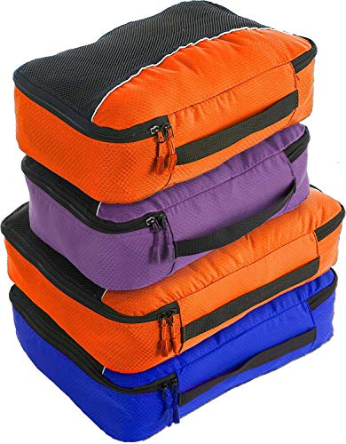 Bago packwürfel - 4 teiliges Packwürfel Set für Reisen - Plus 6 Koffer Organizer Zip Beutel (2_Large+2_Medium_DBlueOrance(M) PurpleOrange, 2_Large+2_Medium)