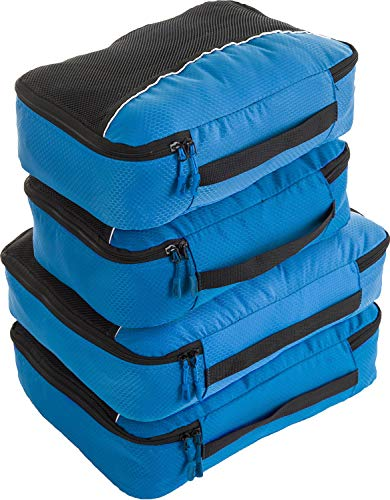 Bago packwürfel - 4 teiliges Packwürfel Set für Reisen - Plus 6 Koffer Organizer Zip Beutel (2_Large+2_Medium_DBlueOrance(M) PurpleOrange, 2_Large+2_Medium)
