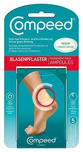 Compeed Blasenpflaster Medium – Hydrokolloid-Pflaster gegen Blasen an den Fersen, 5er Pack